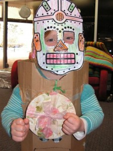 Amelia acted like a space robot at Storytime