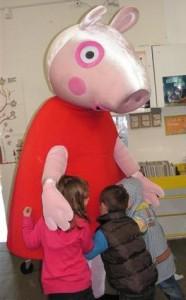 Peppa Pig gets a group hug