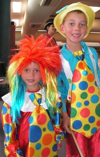 Hayden and Liam dressed at clowns for Circus Storytime
