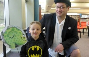 Caleb who played the Monster with Storyteller Michael who played Nicholas trying to tell HIS story in The Wrong Book by Nick Bland