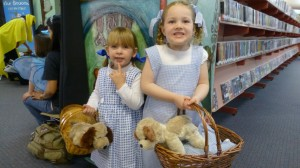 Ruby & Gaby both dressed as Dorothy (with Toto) at Storytime
