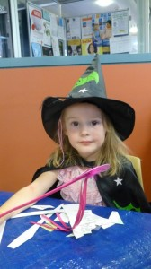 Natasha dressed as a Witch for Storytime