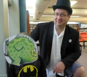 Storyteller Nicholas with the Monster
