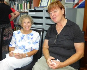 Volunteers Audrey and Jo catch up