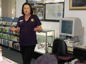 Caroline explains how to use the new microfilm reader