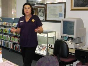 Caroline explains how to use the new microfilm reader