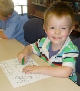 Jackson enjoyed colouring-in at Circus Storytime