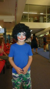 Roman dressed as a clown for Storytime