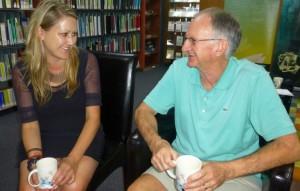 Tammy talks with volunteer Rod