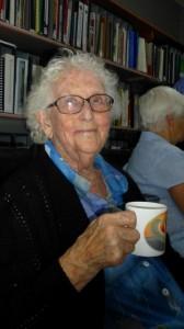 Volunteer Sue enjoys a cuppa