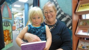 Ava, age 4 and a half, with Carol at Storytime