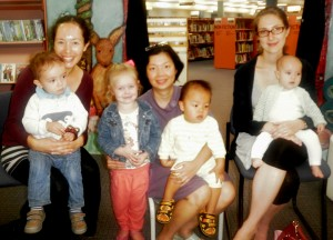 Baby Rhyme and Read graduates Nyssa and Charlie, Anastasia, Sue and Benjamin, Jen and Madeline