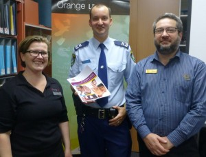 DVCAS Coordinator Penny Dordoy, Snr Constable Granton Smith and Librarian Michael Vella