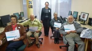 Recent Tech Savvy Seniors graduates Joan, Neville & Wendy with trainer Monica.