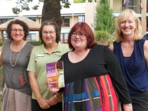 Librarian Carol with authors Jane St Vincent Welch, Jenny Crocker and Jane Richards writing as Alice Campion