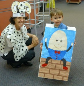 Billy Goat Gruff Fiona met Humpty Dumpty Ryan at Storytime