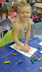 Emma dressed as Tinkerbell for Storytime