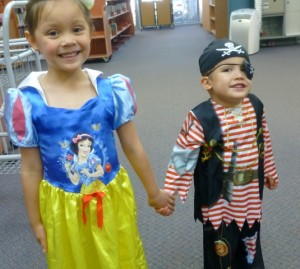Aimee dressed up as Snow White and Ryan was a Pirate at Storytime