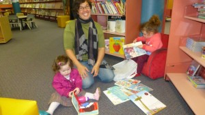 Frankie, Jacque and Lou spend time in the Library