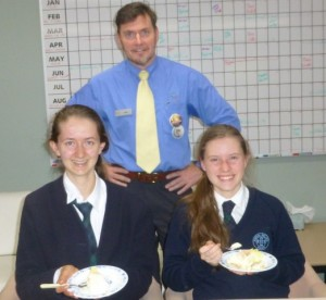Sophie and Molly with Orange Librarian Sean Brady