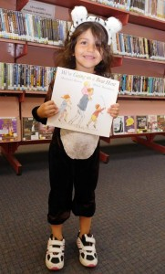 Tara dressed as a bear for Storytime