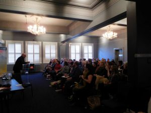 Author Mark Morri and crowd