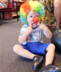 Owen dressed as a clown
