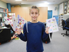 Sonja with her paper creations